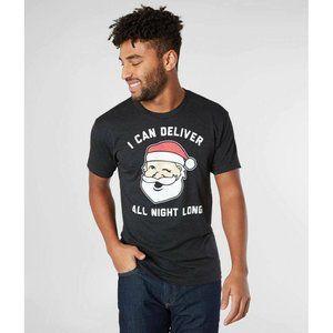 Tipsy Elves Mens Santa Deliver All Night Long Short Sleeve Tee T Shirt XL Gray